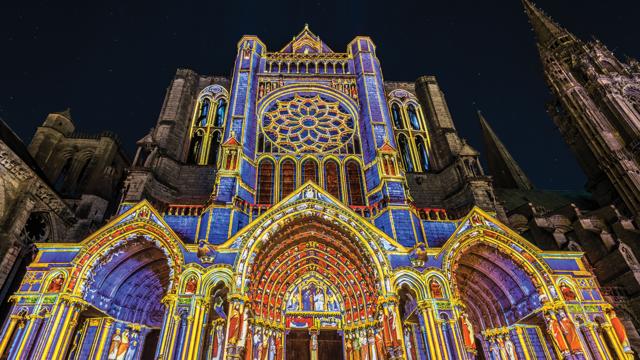 Portail Nord de la cathédrale lors de Chartres en lumières